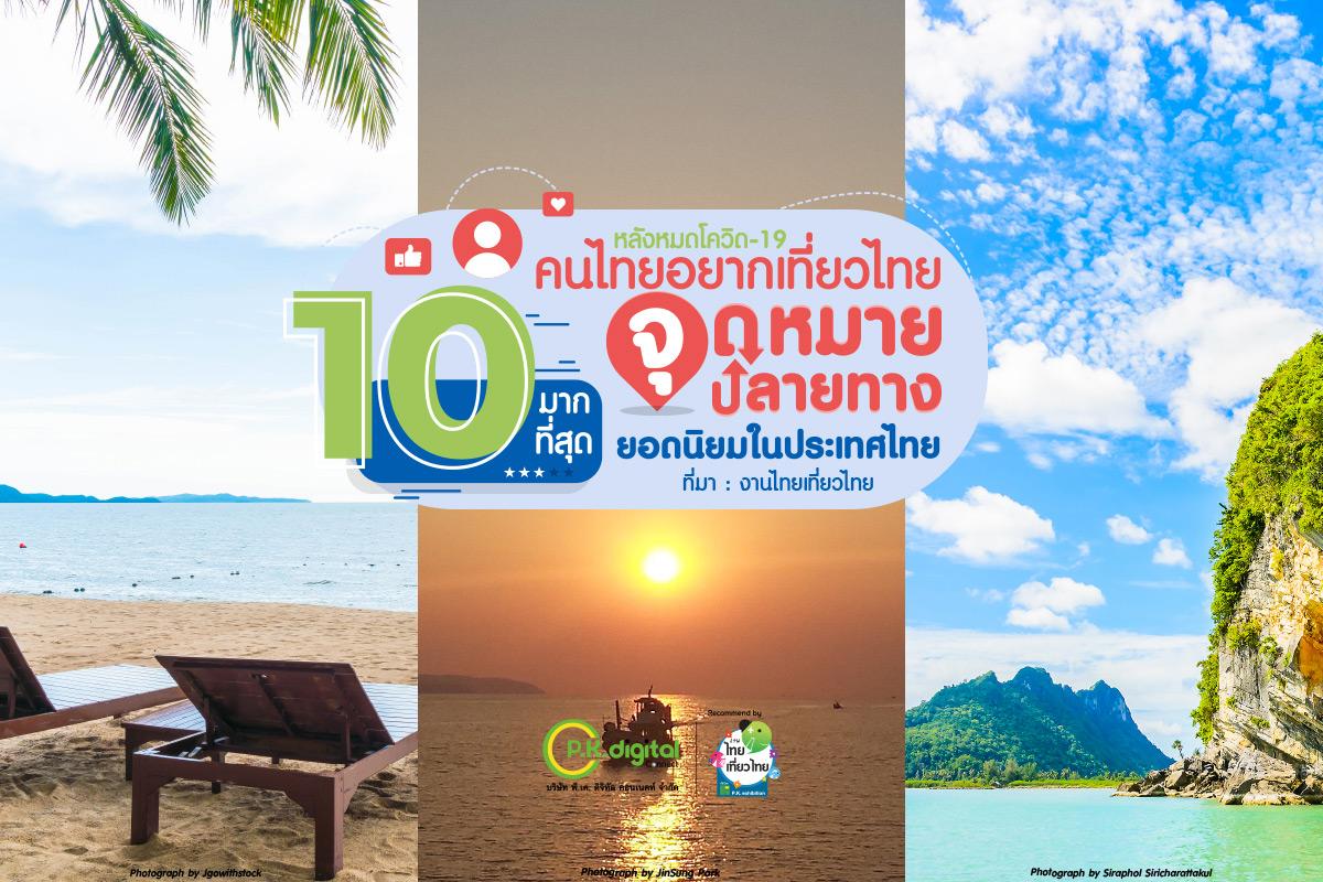 10 จุดหมายปลายทางที่คนไทยอยากเที่ยวหลังเปิดประเทศ